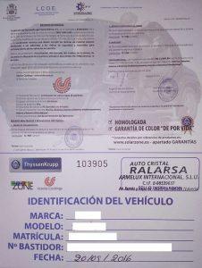 certificado lunas tintadas